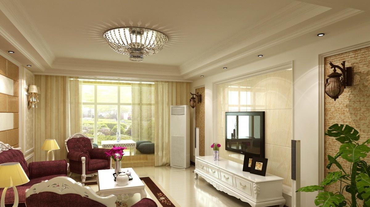 简欧客厅石膏板吊顶 - 九正家居装修效果图图片