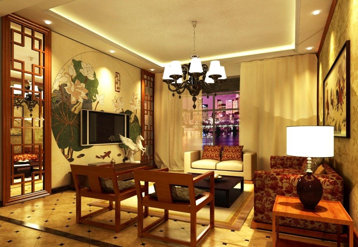 中式客厅吊顶灯装修效果图欣赏图片