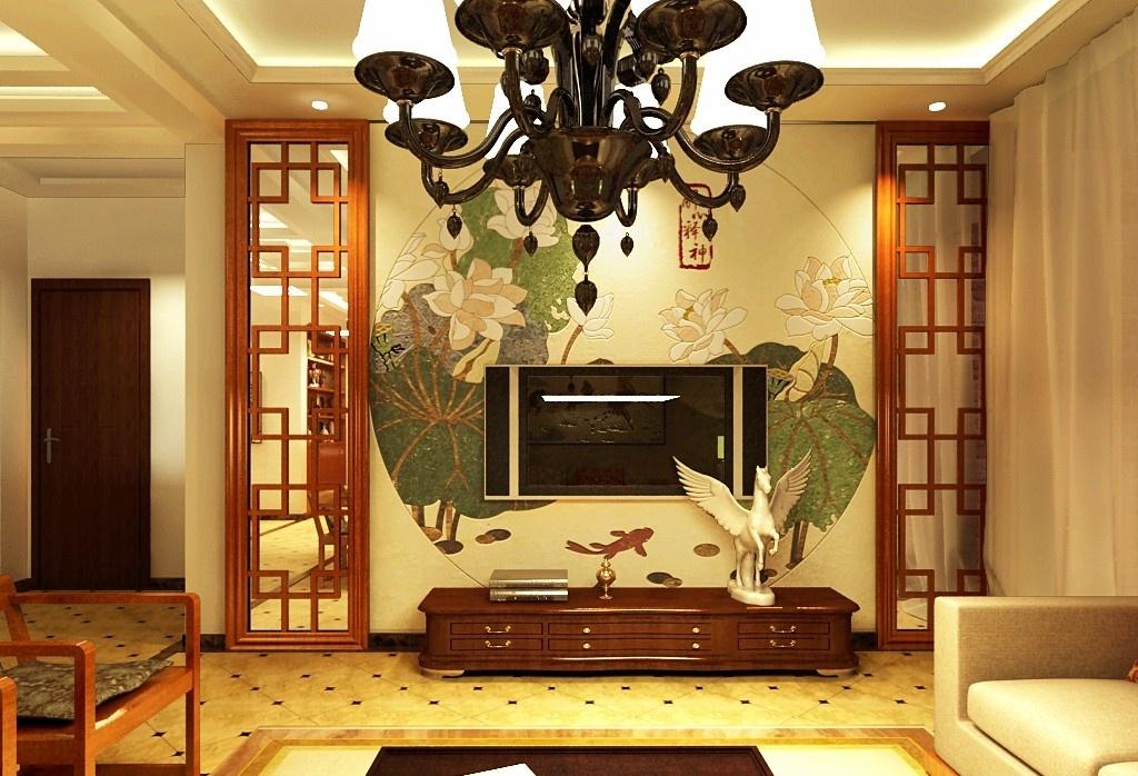 中式一居客厅电视背景墙壁纸效果图 - 九正家居装修