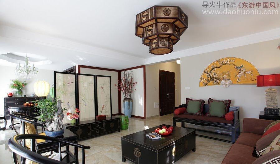 中式风格客厅屏风隔断效果图图片