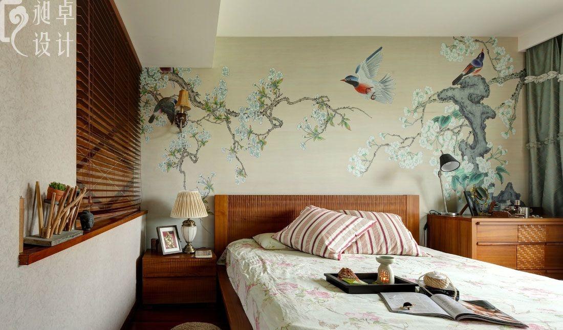 卧室床头手绘墙画效果图