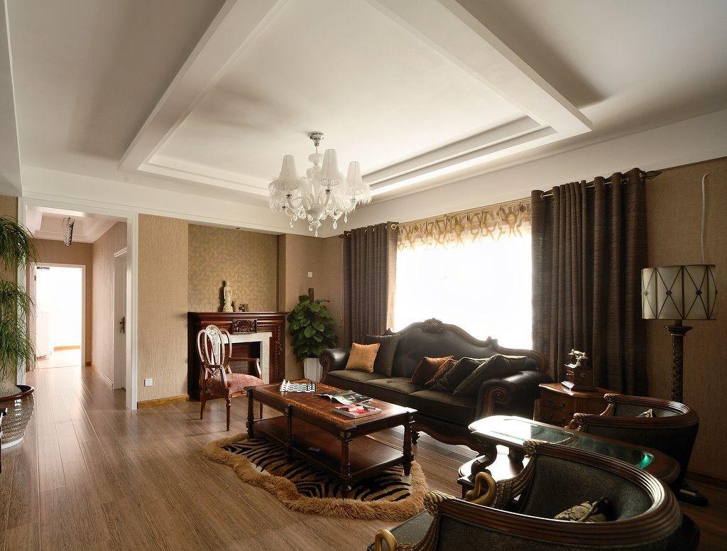 美式风格家装客厅吊顶装修效果图图片