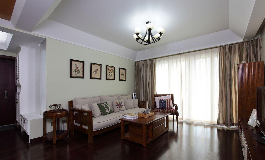 美式风格客厅实木沙发背景墙效果图 - 装修效果图图片