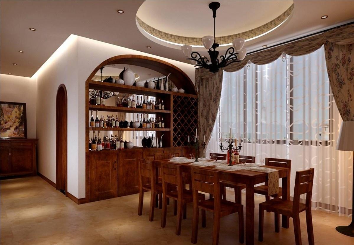 餐厅酒柜装修效果图 餐厅圆形吊顶装饰图片