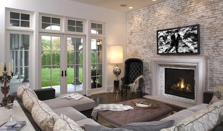 北欧风格复古砖纹电视墙装修效果图图片