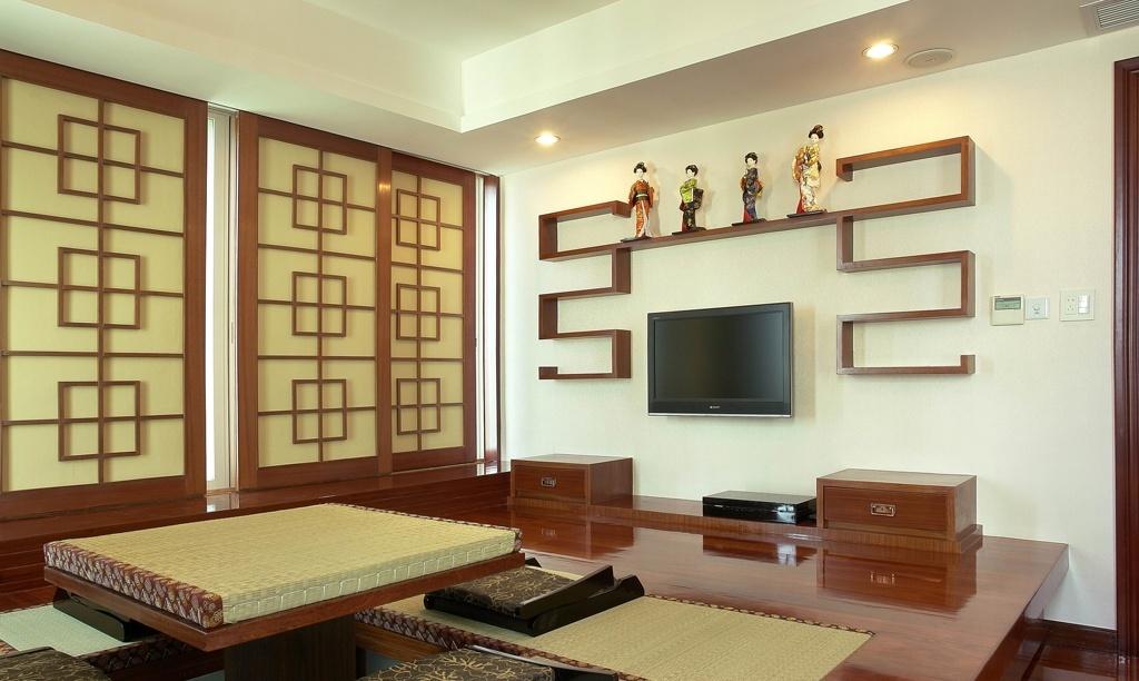 中式客厅电视背景墙造型装修效果图图片
