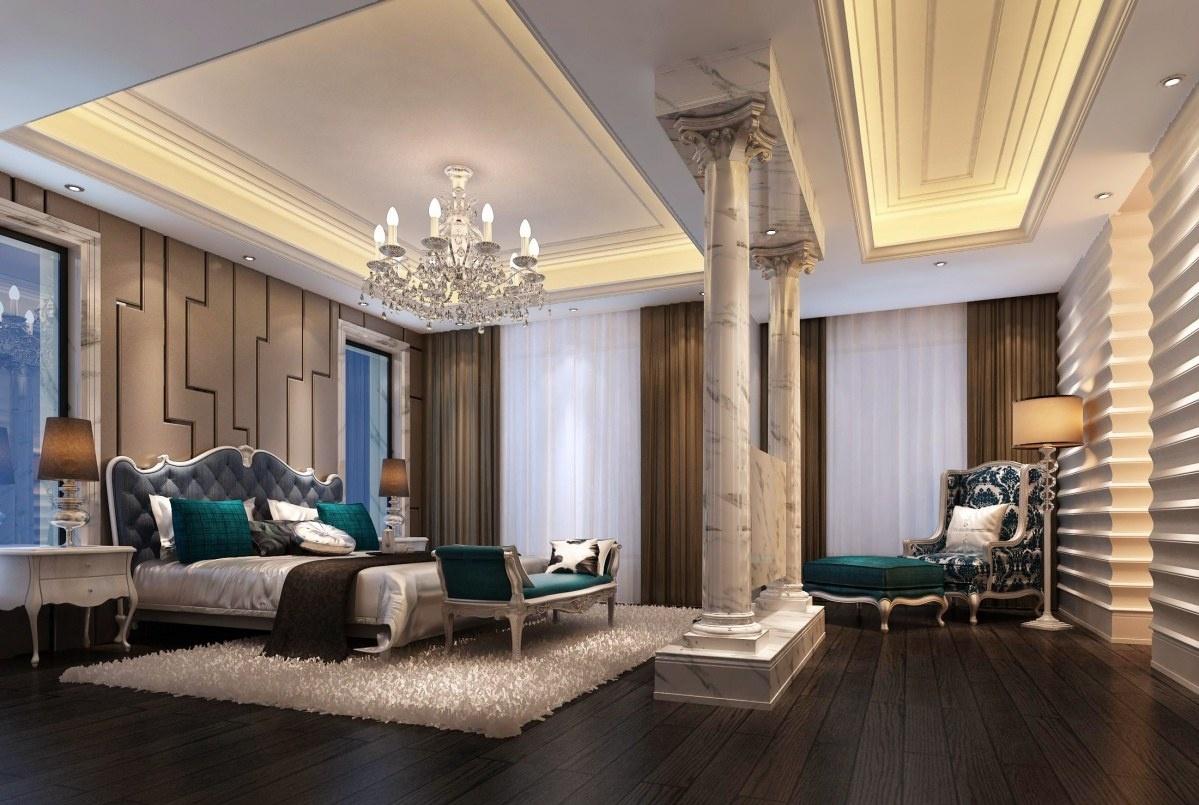 欧式主卧室吊顶设计图片 - 九正家居装修效果图图片