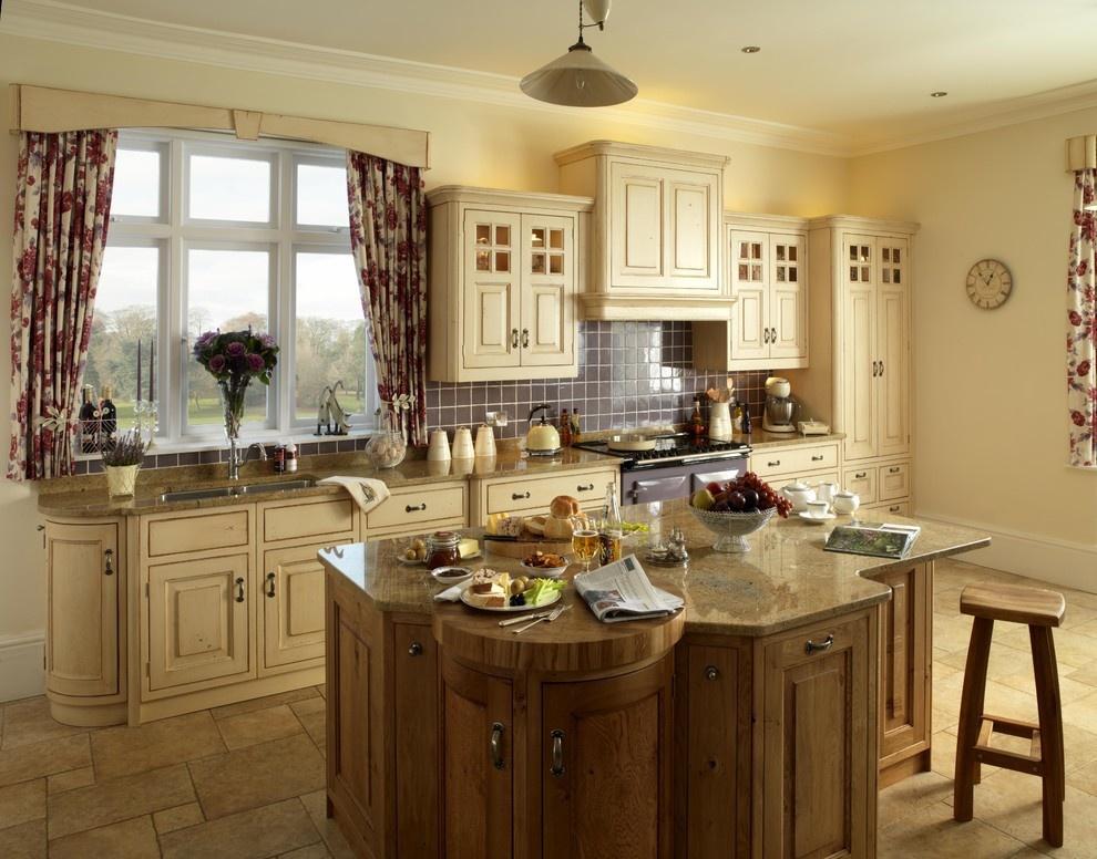 欧式风格开放式厨房实木橱柜效果图图片