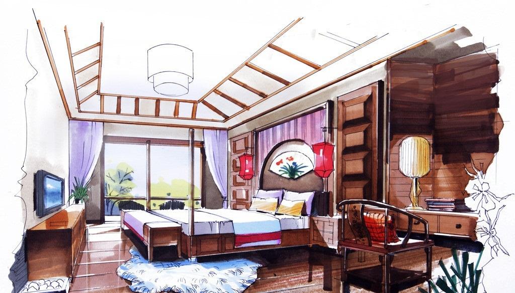 中式风格卧室手绘效果图