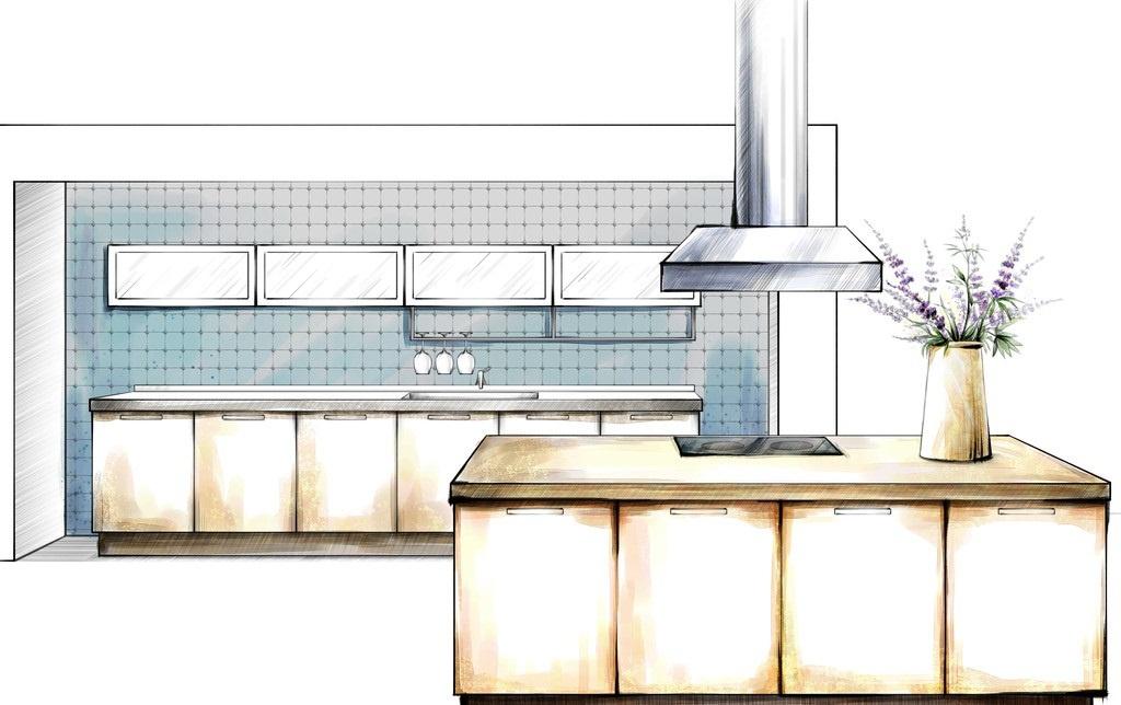厨房橱柜手绘家具效果图片