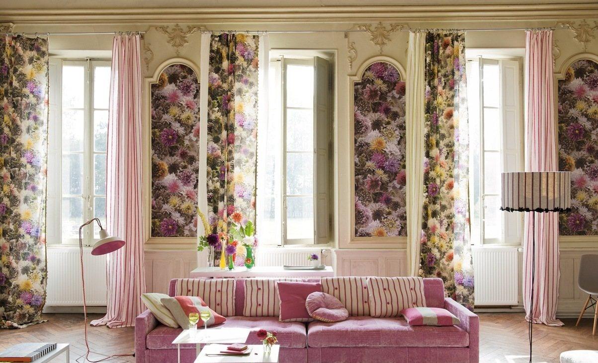 欧式别墅客厅田园窗帘效果图图片