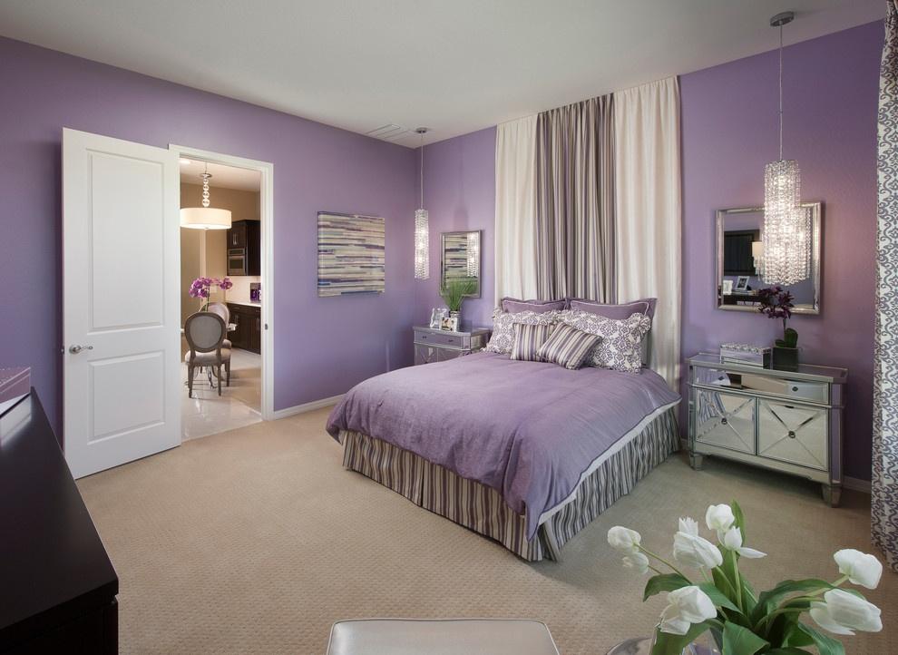 温馨卧室紫色双人床图片大全