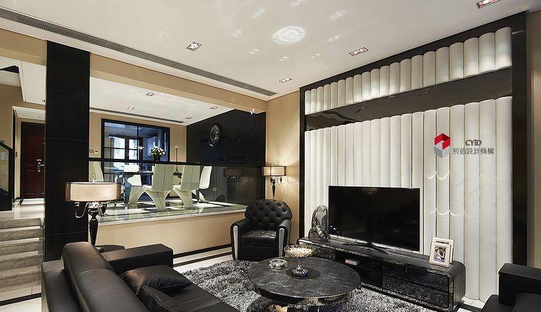 别墅错层装修客厅电视墙效果图