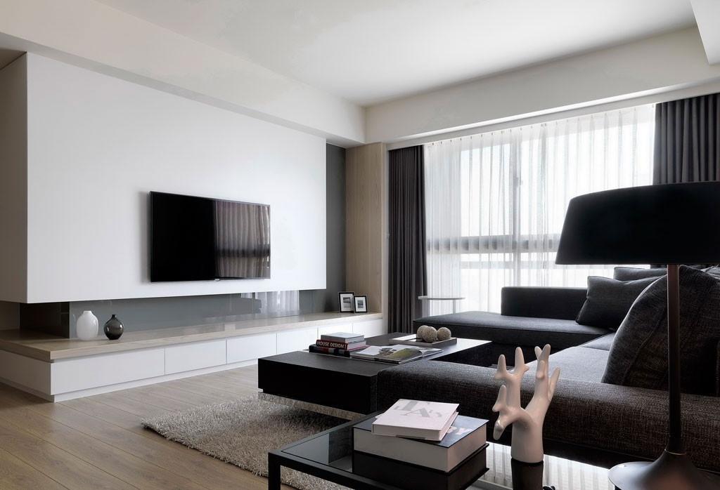 极简主义风格客厅电视背景墙装修效果图