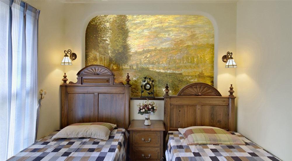 美式双人儿童房手绘背景墙效果图