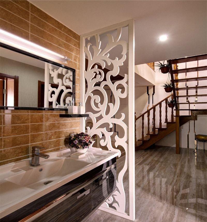 别墅卫生间洗手台隔断架设计 - 九正家居装修效果图