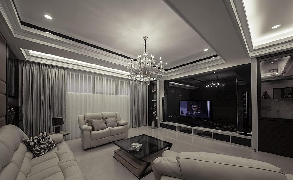 现代家装大客厅吊顶效果图