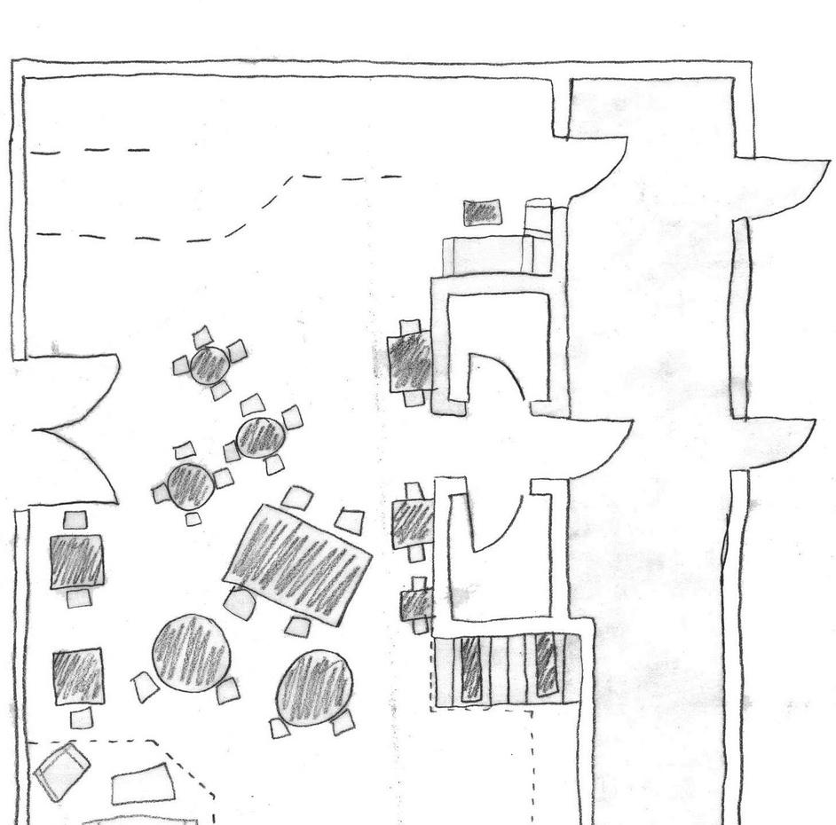 咖啡厅手绘平面图