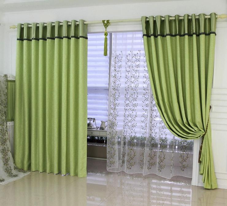 绿色阳台窗帘效果图