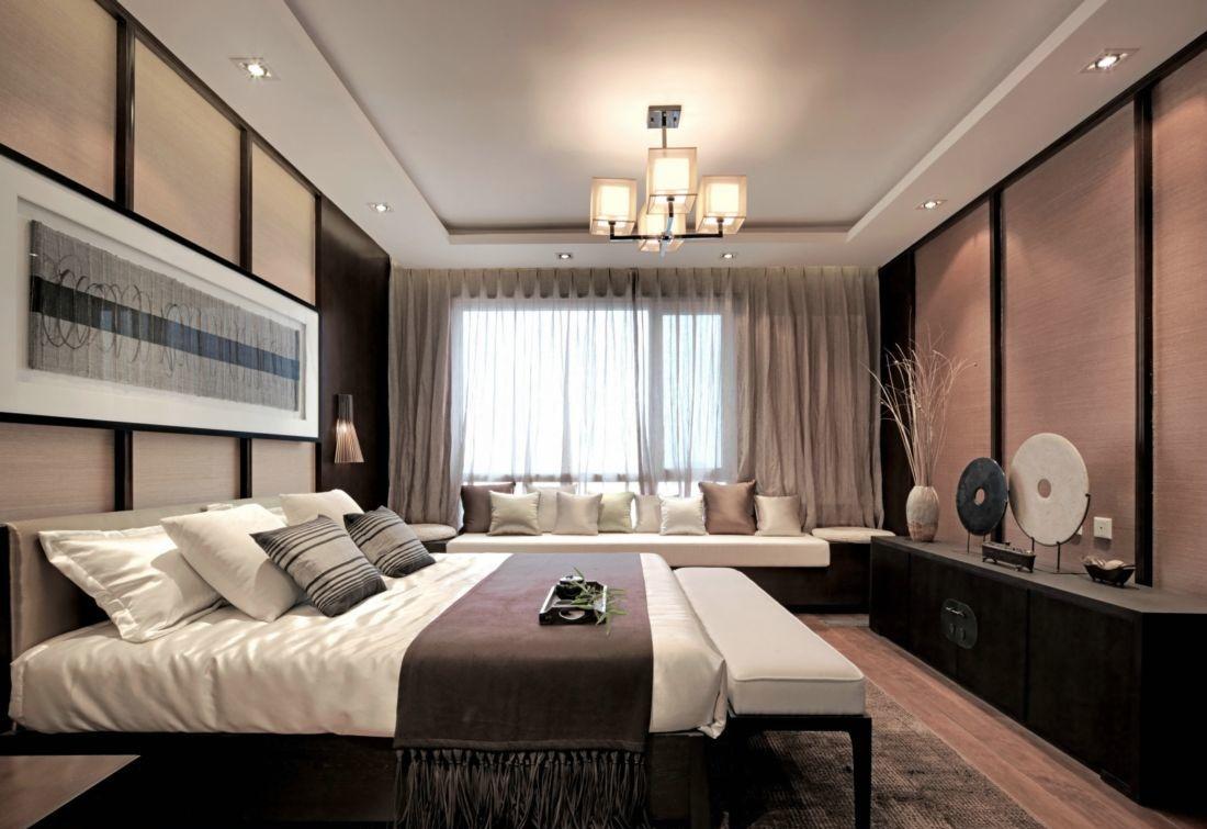 中式风格卧室石膏板吊顶装修效果图