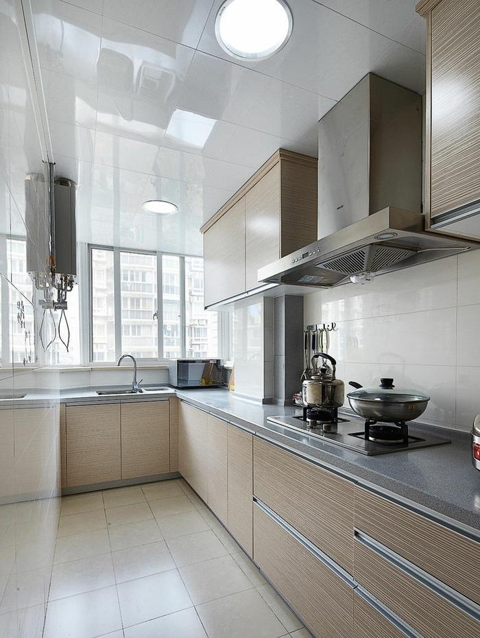 中式家居l型长厨房装修图片2015 - 九正家居装修效果图