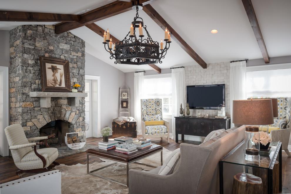 美式时尚客厅吊顶大全 - 九正家居装修效果图图片