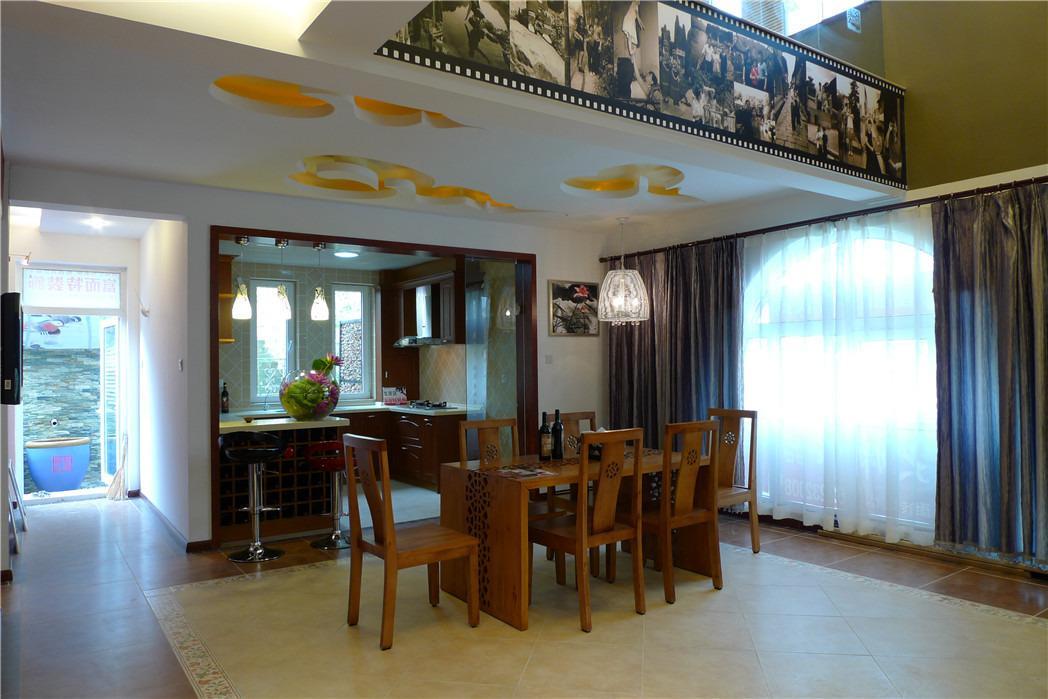 中国风别墅设计复式新中式餐厅装修效果图设计欣赏