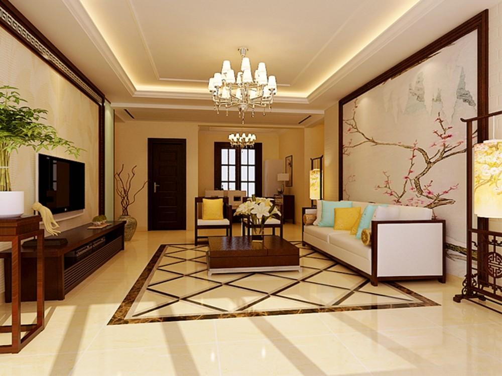 146平米清雅新中式风格三室两厅新中式客厅装修效果图