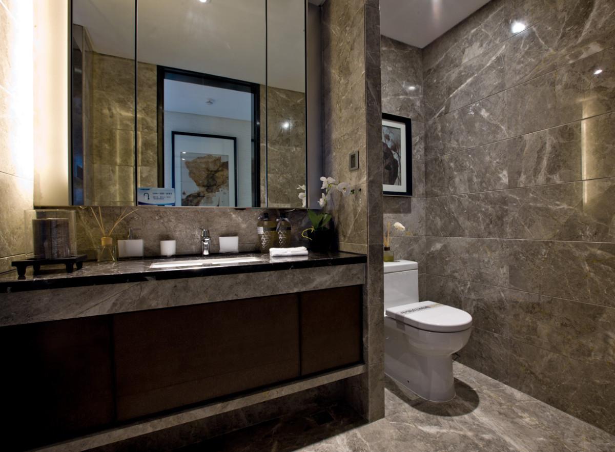 黑白灰简约现代风格四室两厅新中式卫生间装修效果图设计欣赏图片