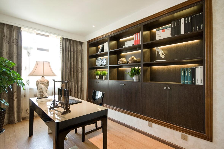 别墅新中式效果图欣赏复式新中式书房装修效果图设计欣赏图片