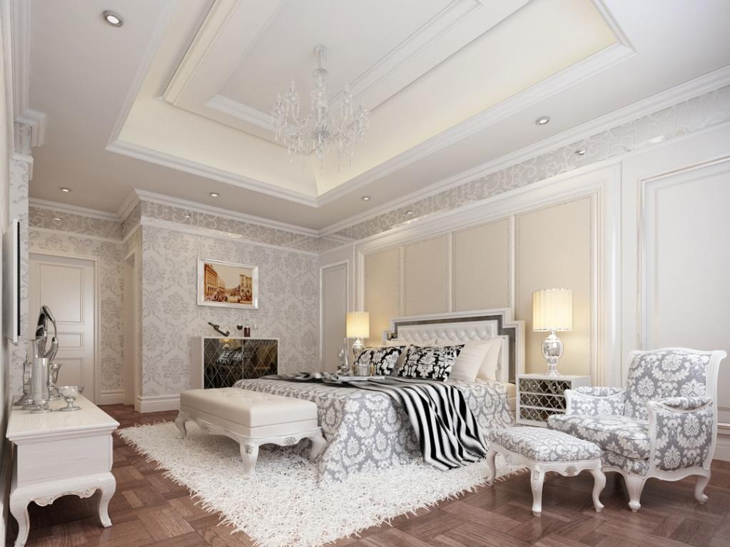 白色简欧风格复式欧式主卧装修效果图设计欣赏图片