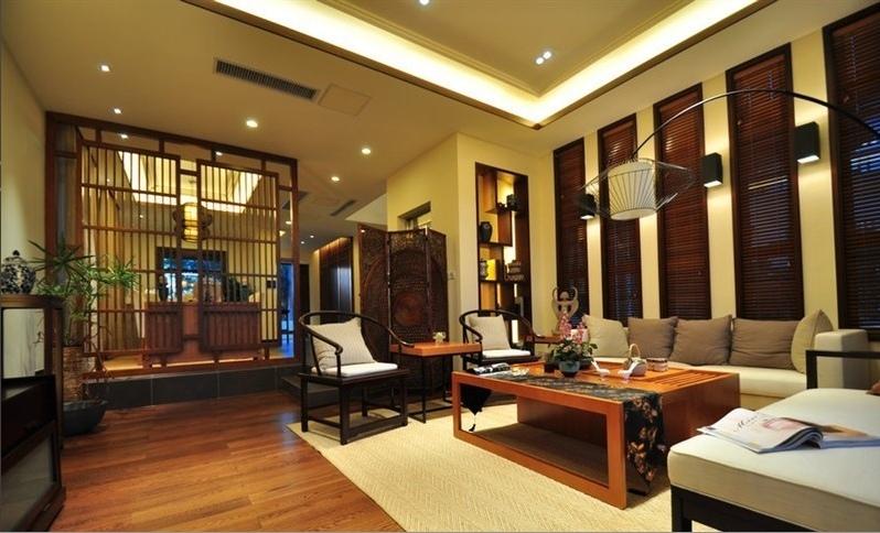 文化的传承中式风格260平米别墅loft新中式客厅装修效果图设计欣赏图片