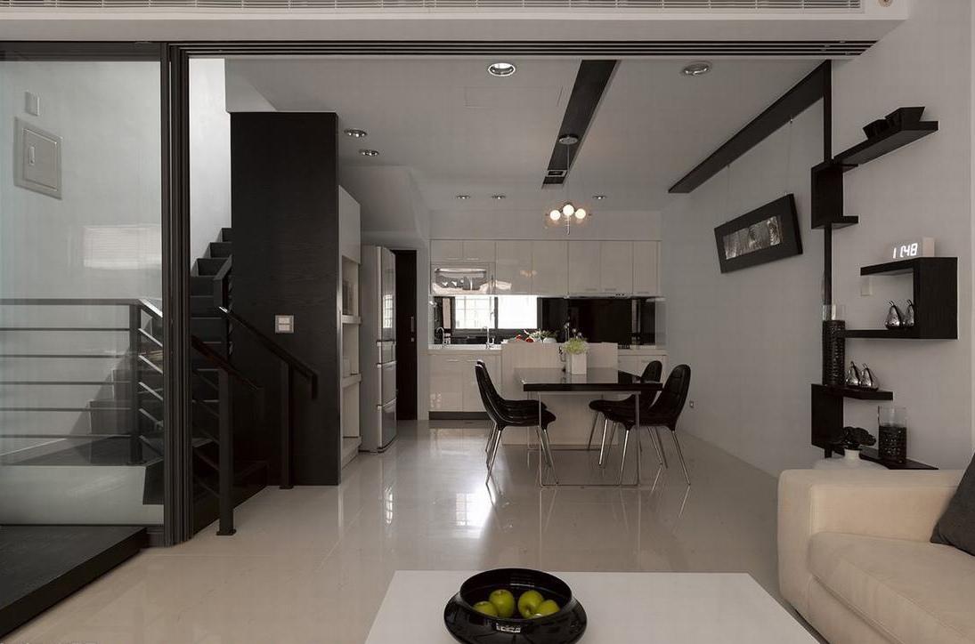黑白基调 美丽焦点复式现代简约客厅餐厅装修效果图设计欣赏