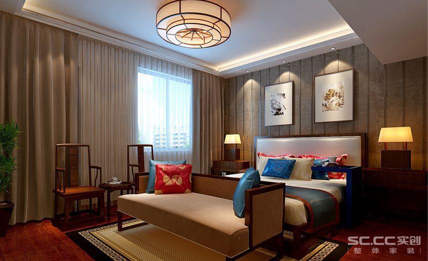 350平独栋别墅奢华新中式装修风格loft新中式次卧装修图片