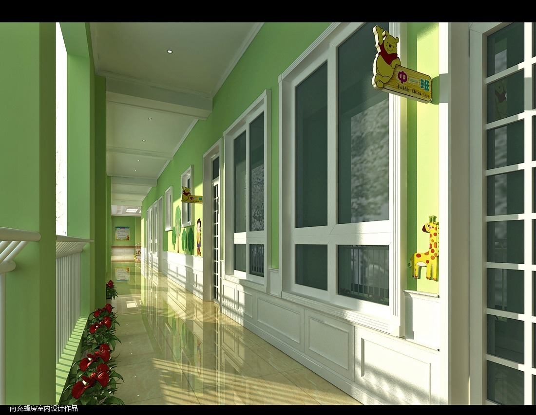 简约式幼儿园过道设计图