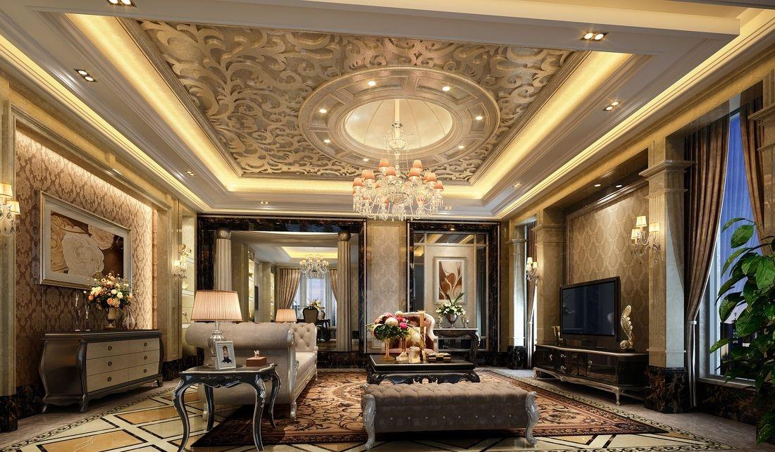 丰泽园_欧式客厅吊顶吊灯装修效果图图片