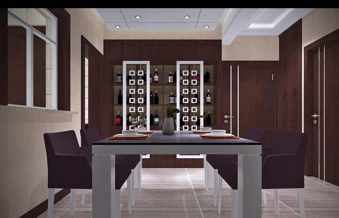新中式餐厅装修酒柜设计效果图