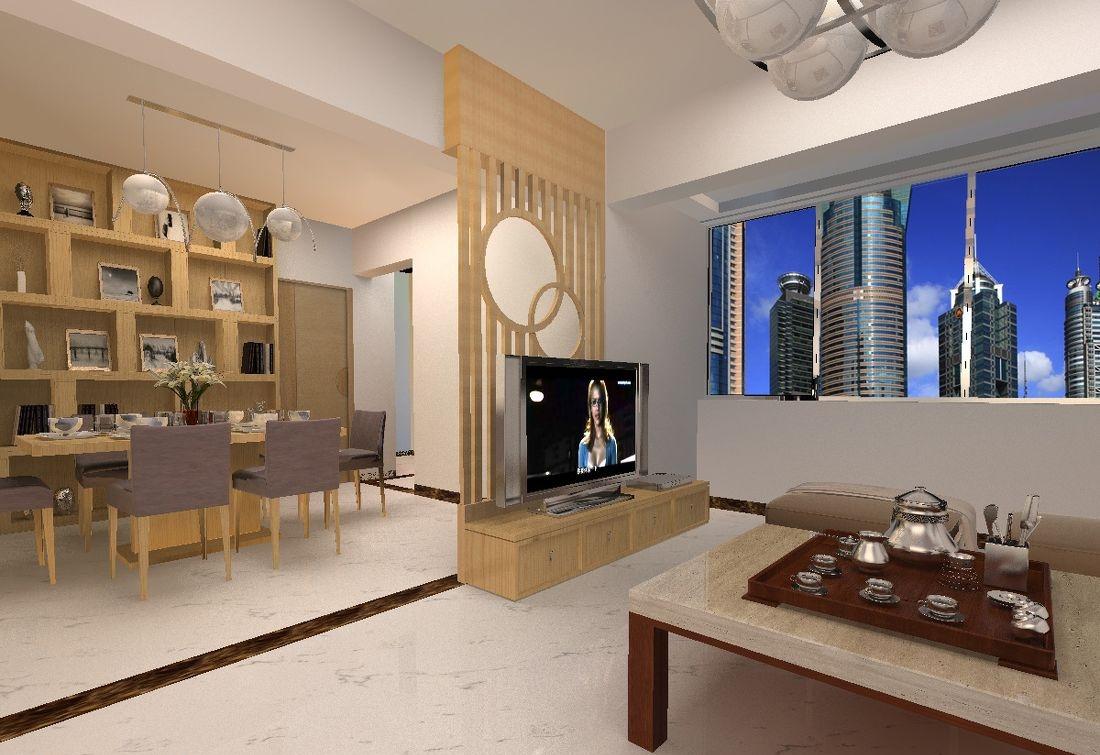 现代木质电视背景墙设计效果图