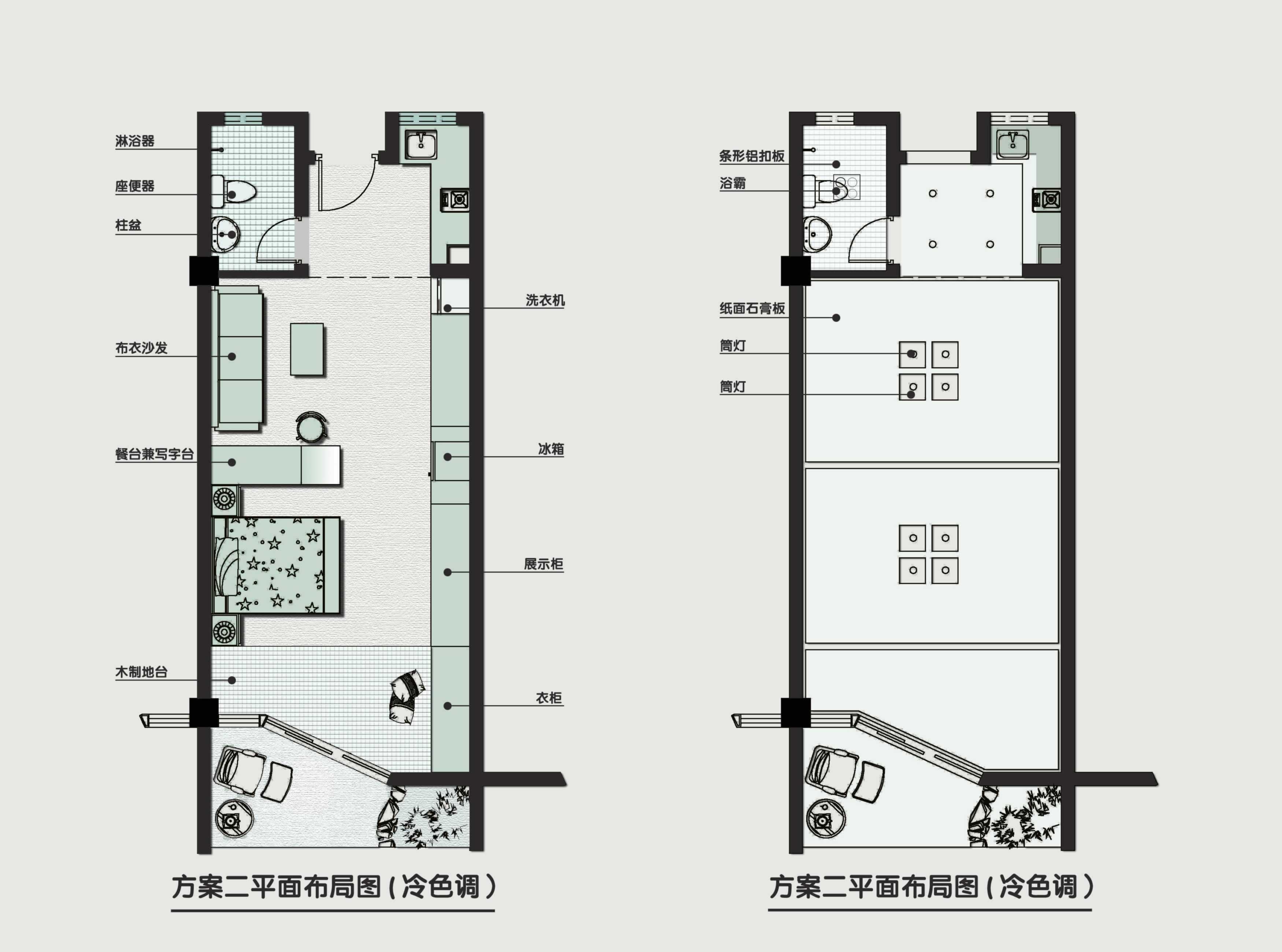 简约风格单身公寓平面设计图