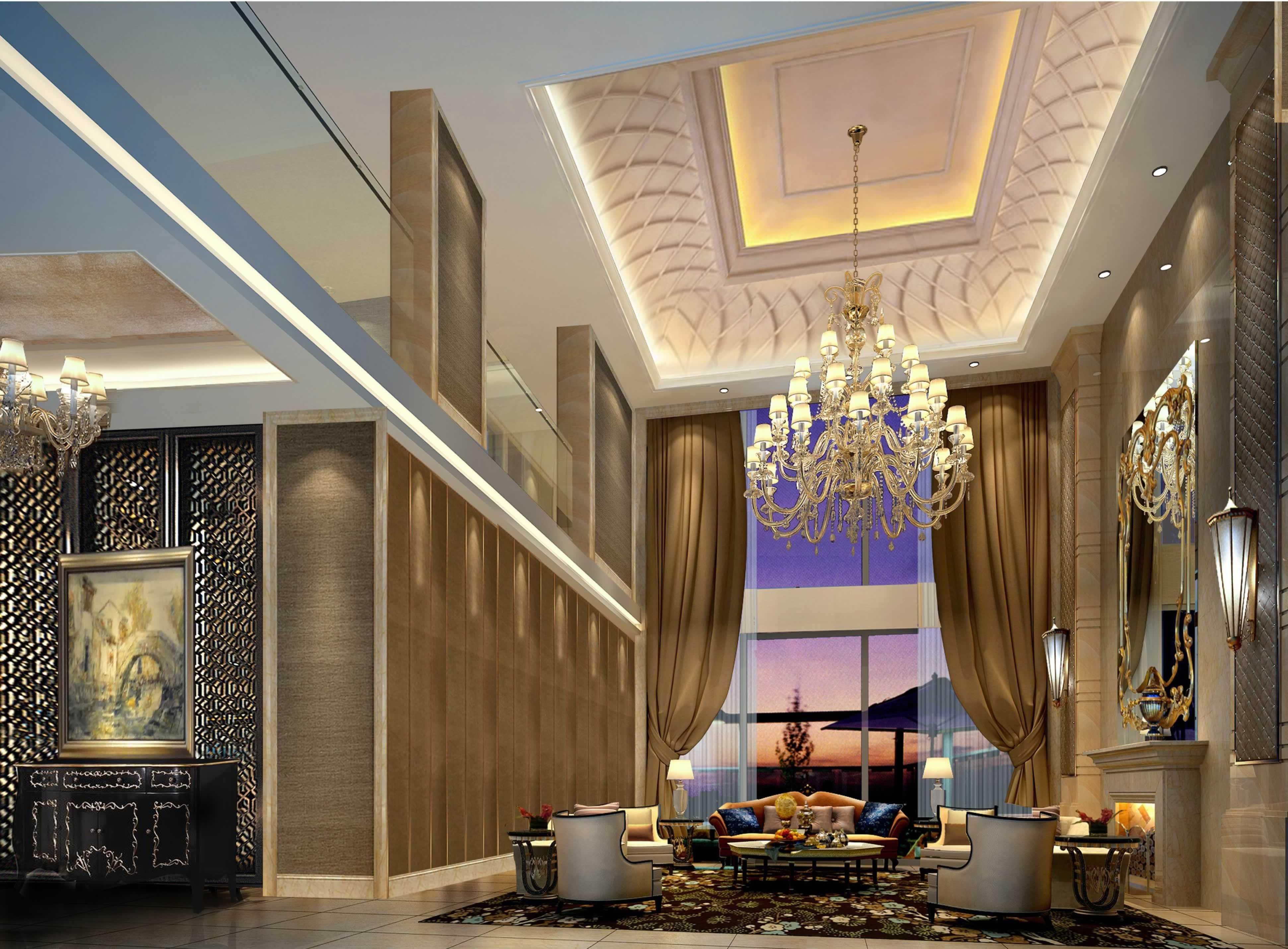 美式别墅挑高客厅效果图 - 装修效果图 - 九正家居网图片