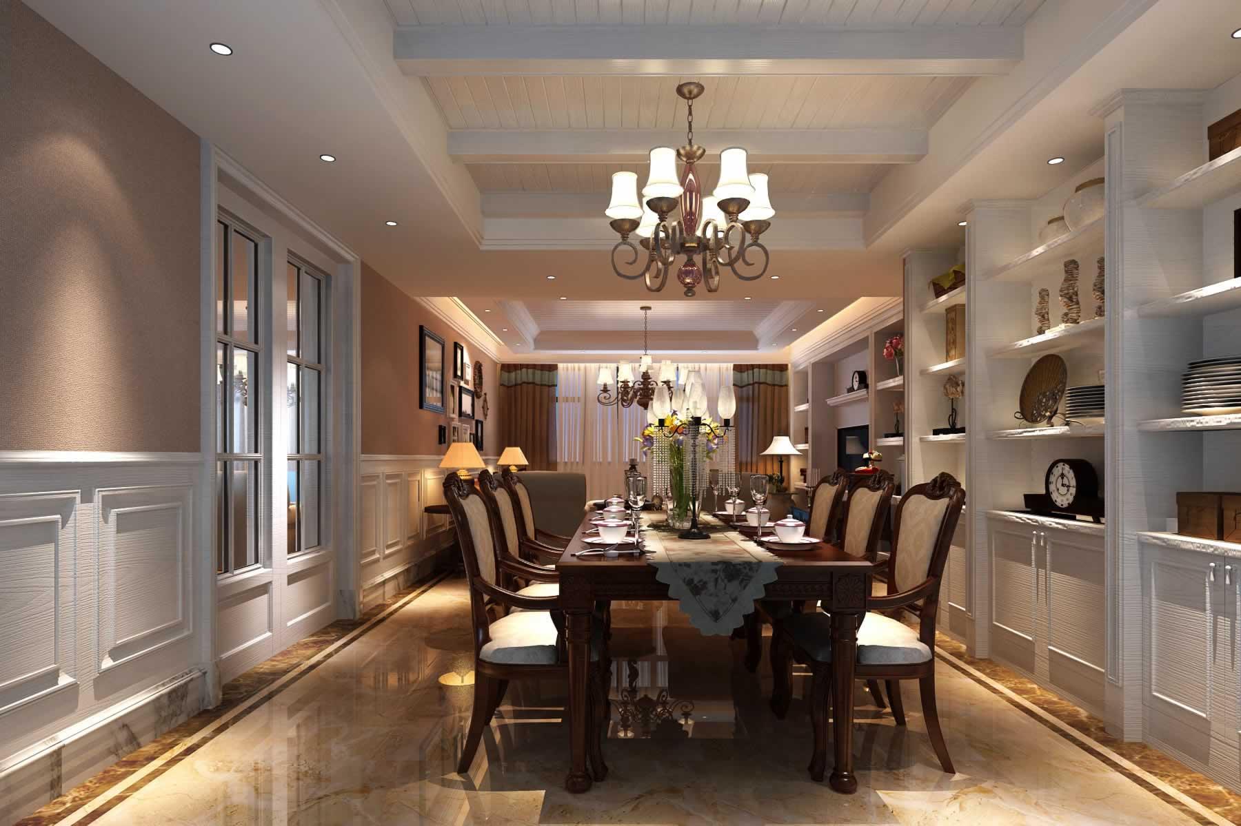 美式餐厅博古架图片欣赏 - 九正家居装修效果图