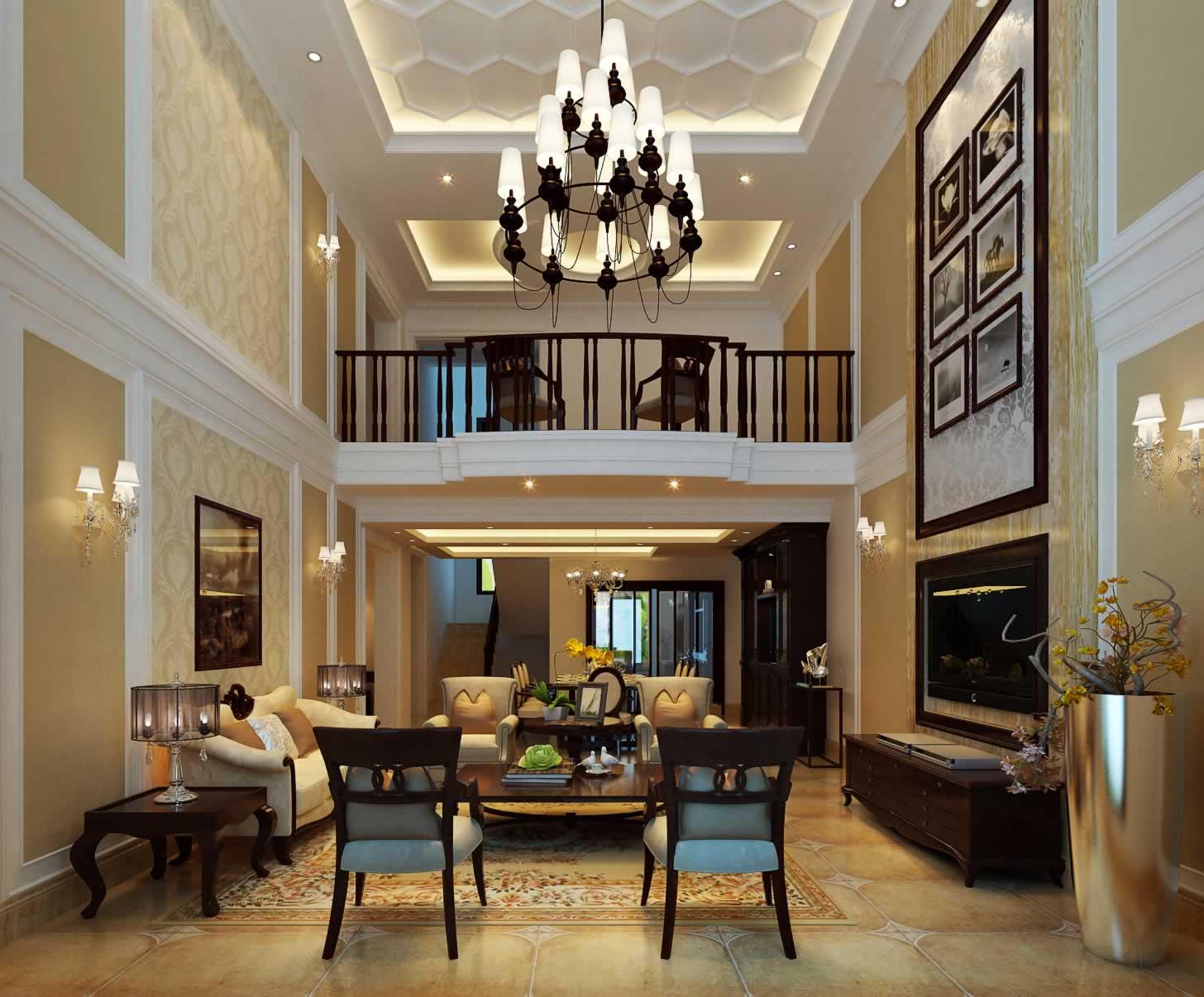 跃层住宅欧式客厅吊顶图片图片