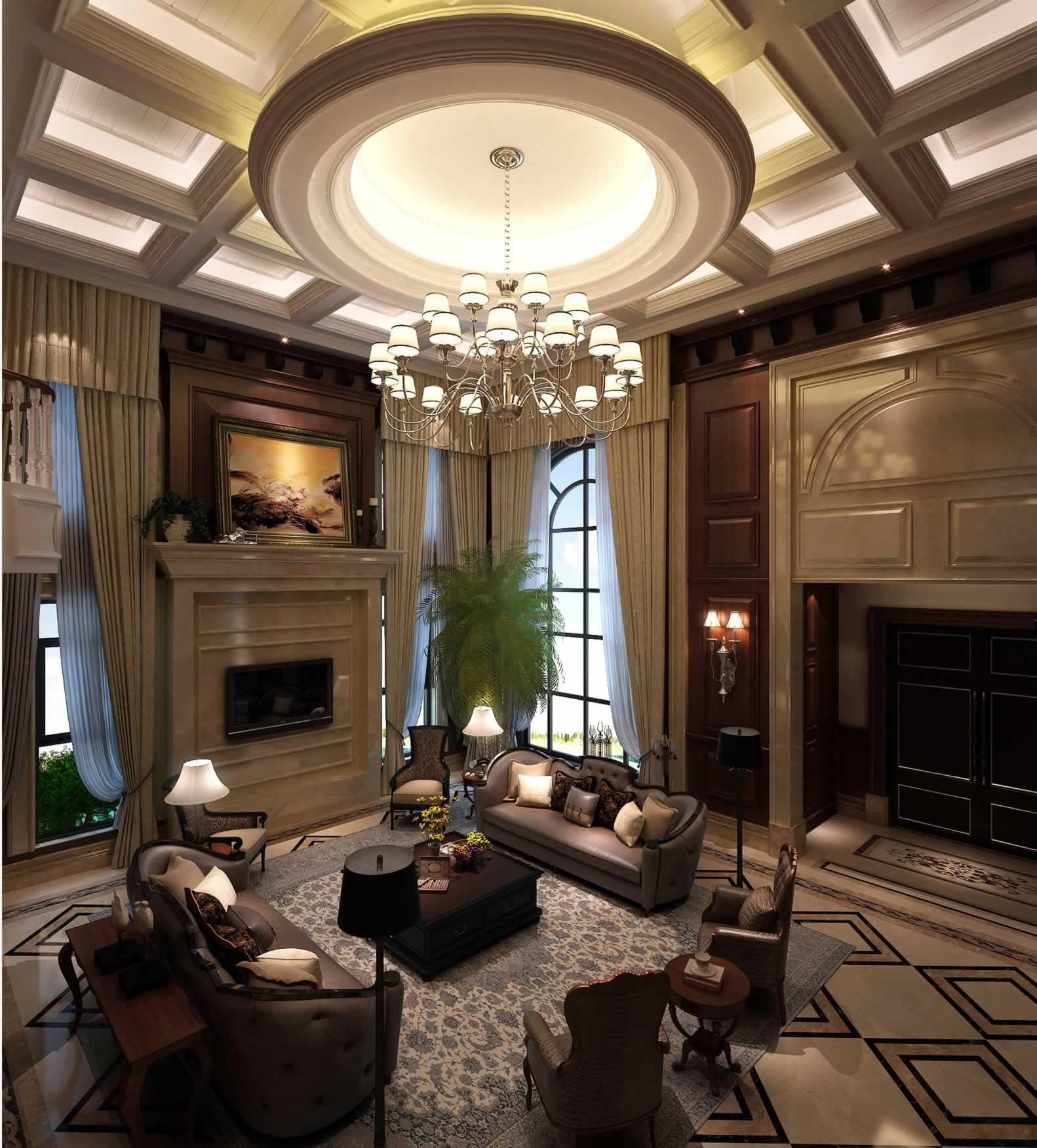 美式挑高客厅吊顶设计图片 - 装修效果图 - 九正家居网图片