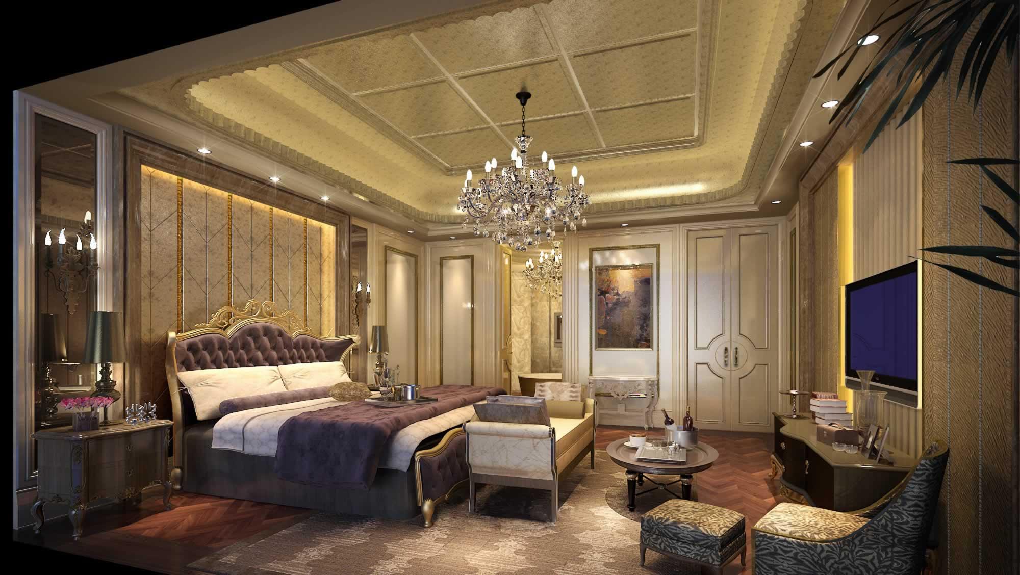 美式风格别墅奢华卧室效果图 - 九正家居装修效果图图片