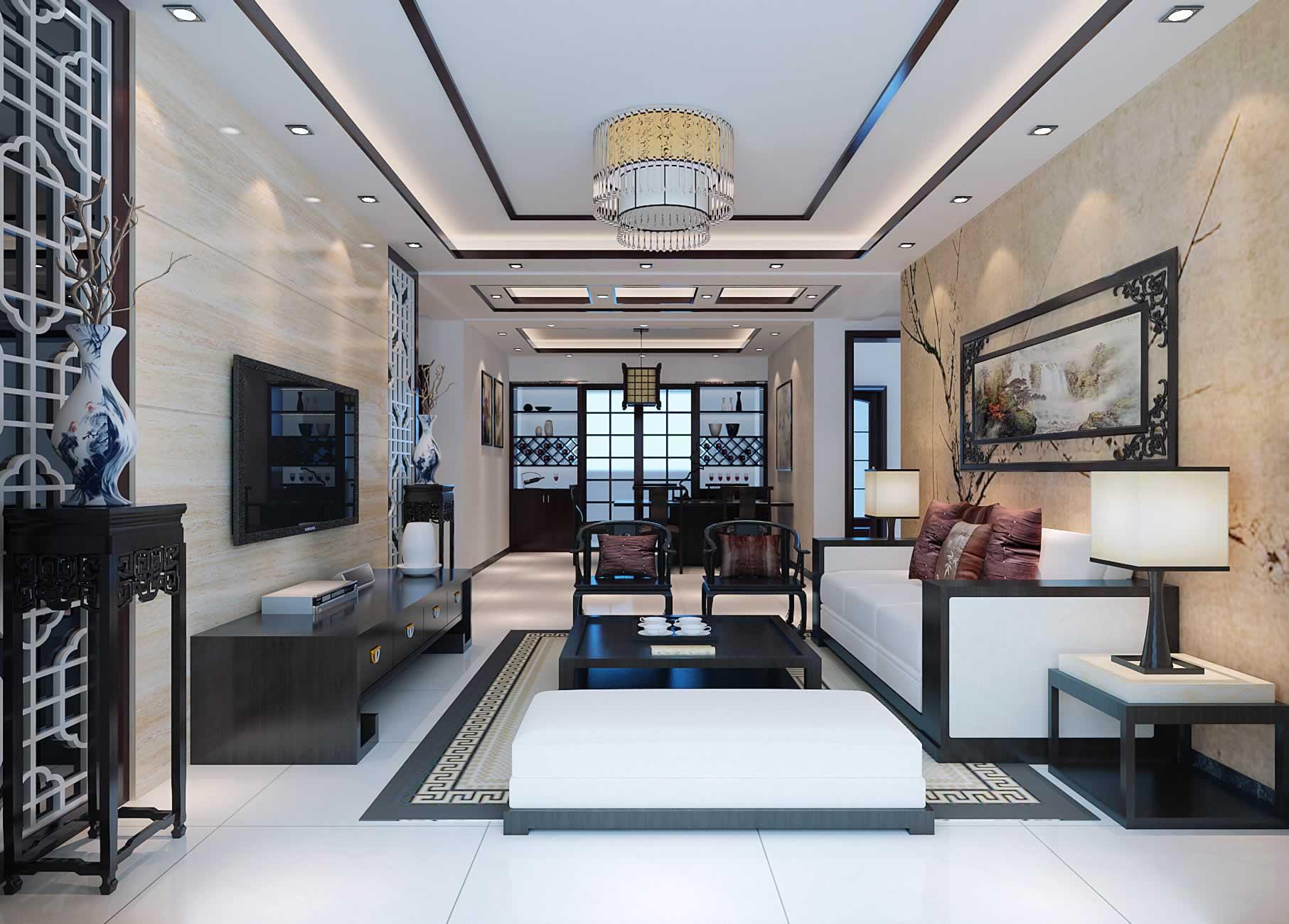 82平米现代中式客厅吊顶效果图图片