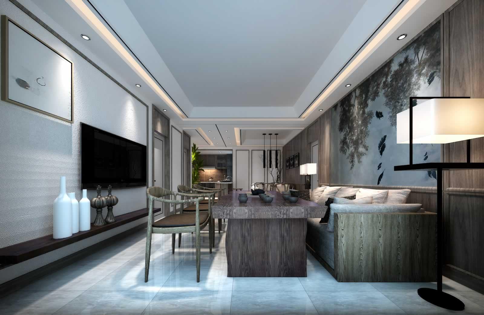 新中式设计客厅沙发背景墙