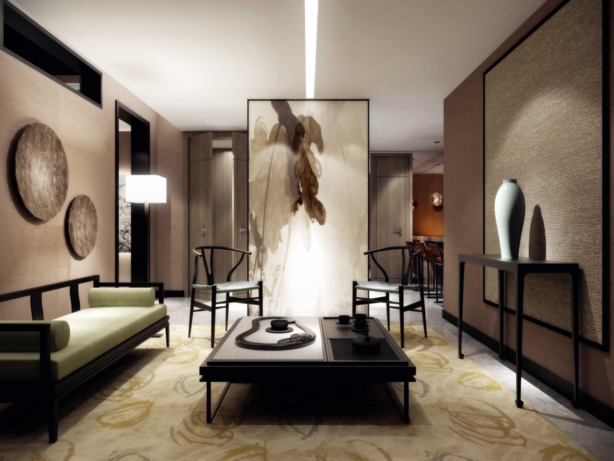 现代中式风格客厅沙发背景墙设计图片