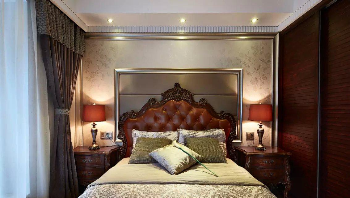 欧式卧室床头背景墙效果图图片