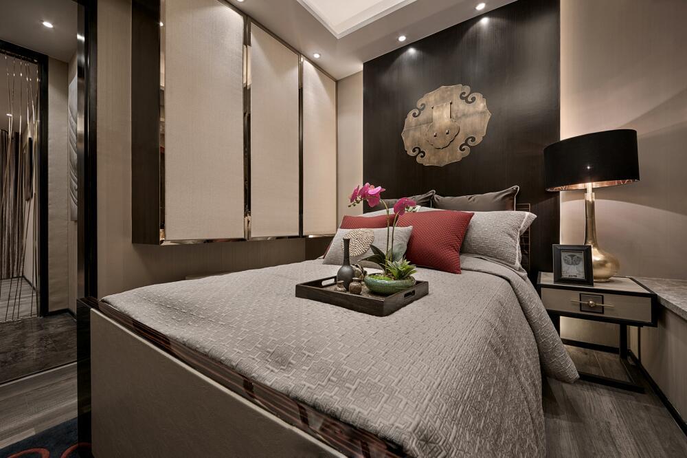 新中式卧室背景墙图片图片