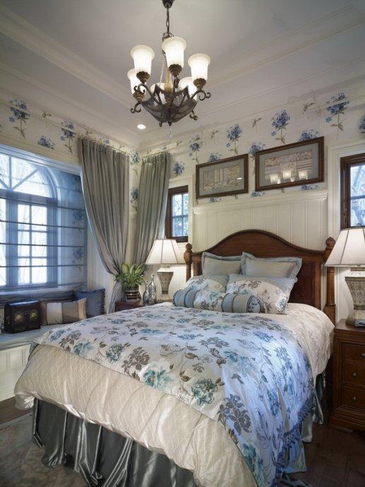 美式风格卧室吊灯装修设计图片 - 九正家居装修效果图图片